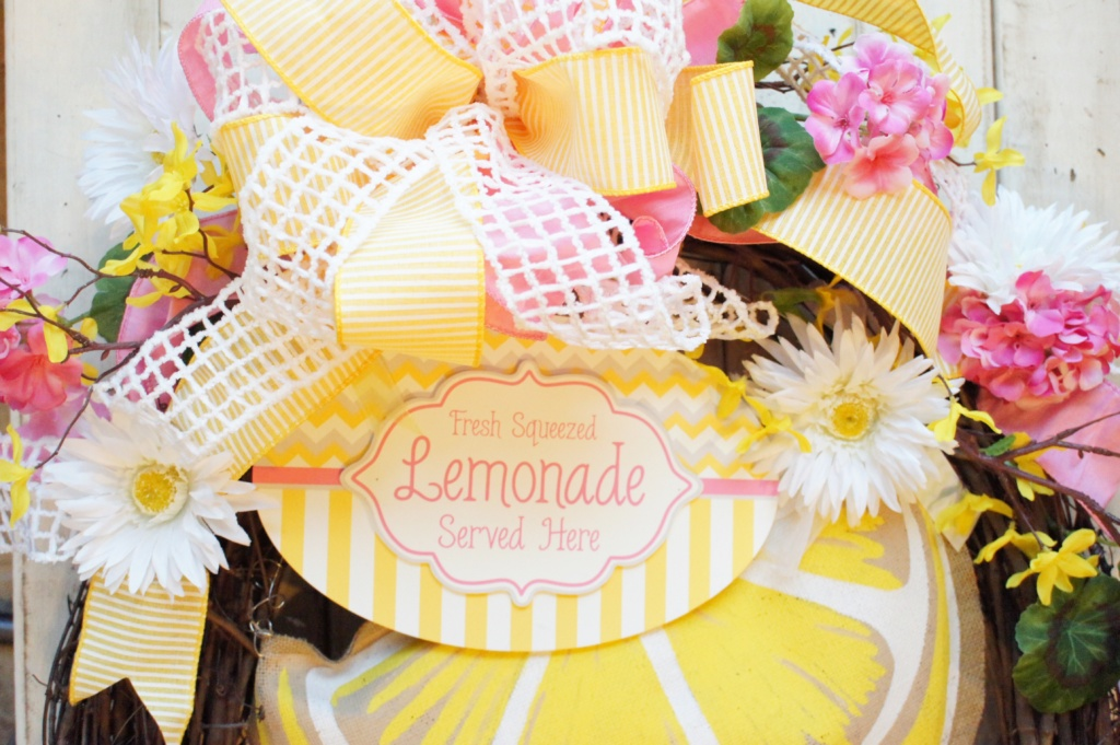 DIY, summer, flowers, lemonade themed, wreath, how to, tutorial, do it yourself