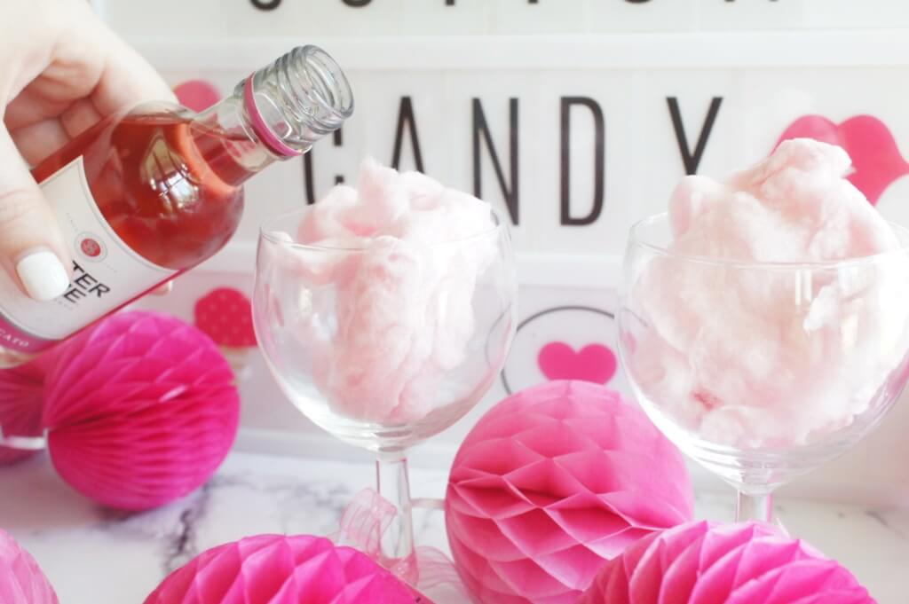Cotton Candy Cocktail, Cotton Candy, Pink, Entertaining, Hosting, Bachelorette party, bachelorette, girls night, GNO, cocktail, happy hour, drink, entertaining, our messy table , moscato,
