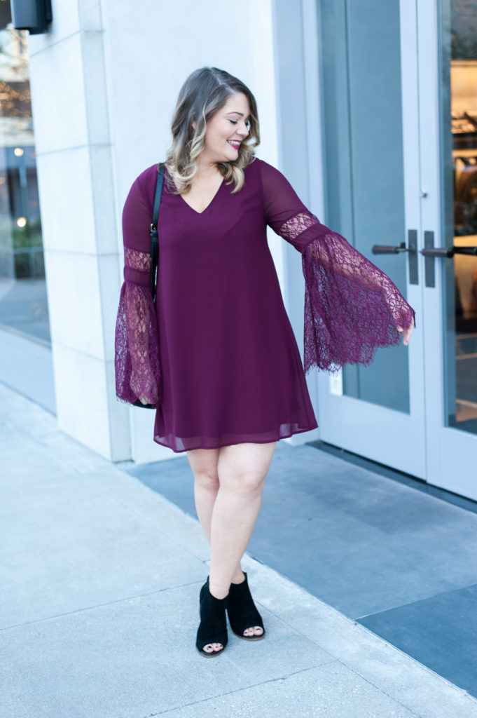 lace bell sleeve dress, bell sleeves, lace, dress, anjoulis boutique, winter, christmas, holidays, plum, wine colored dress