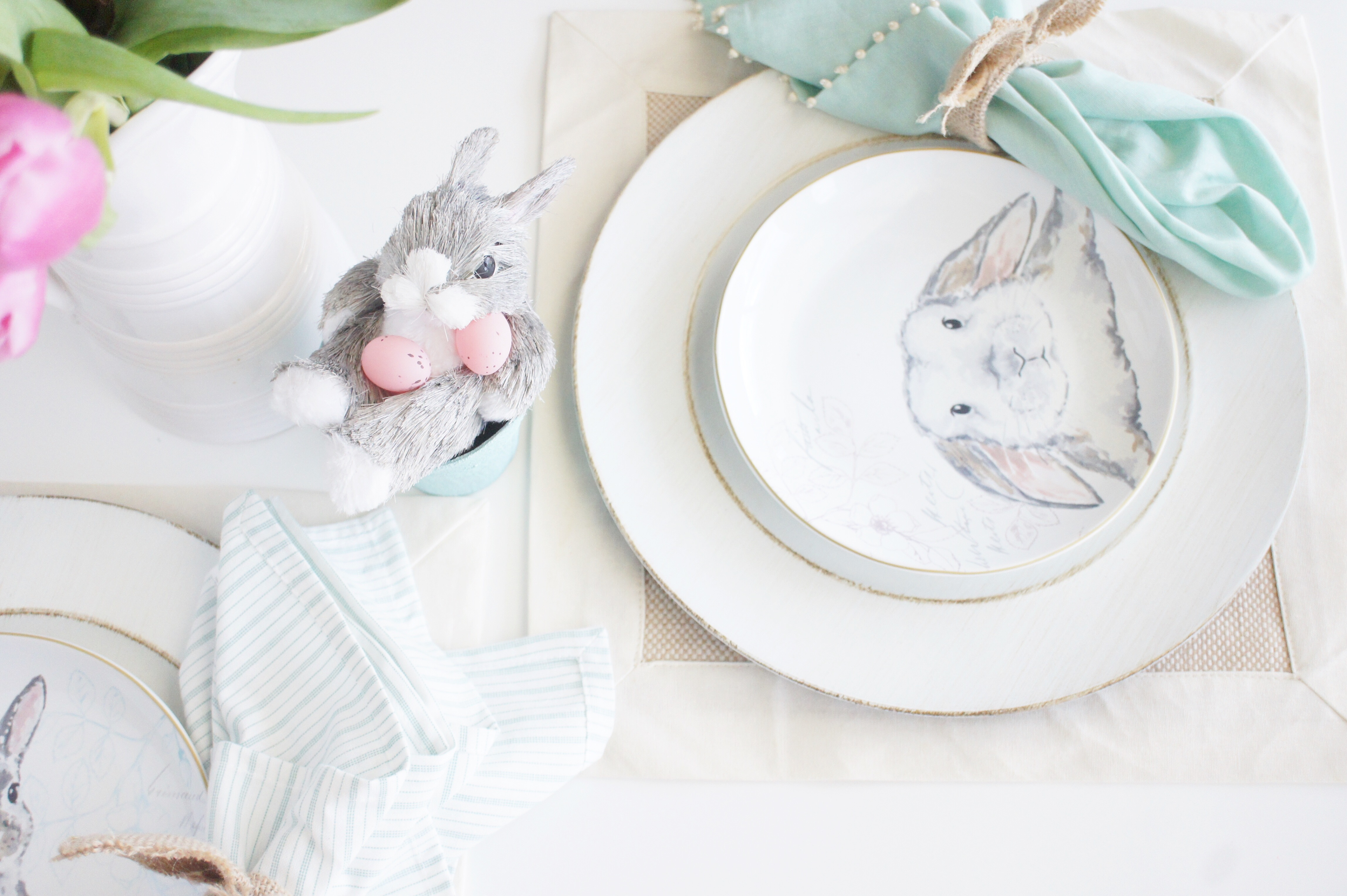 easter bunny tablescape, easter bunny, easter decor, spring decor, spring, easter, home decor, tablesetting,
